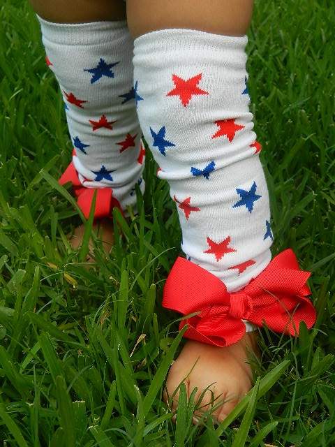 Red, White and Blue Star Leg Warmers